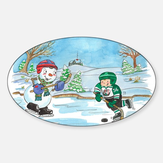 Hockey Holidays! Oval Decal