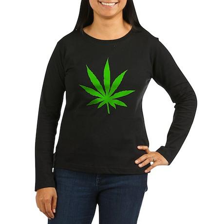 Marijuana Leaf Women's Long Sleeve Dark T-Shirt