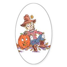 scarecrow and pumpkin Oval Decal