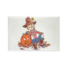 scarecrow and pumpkin Rectangle Magnet
