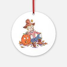 scarecrow and pumpkin Keepsake (Round)