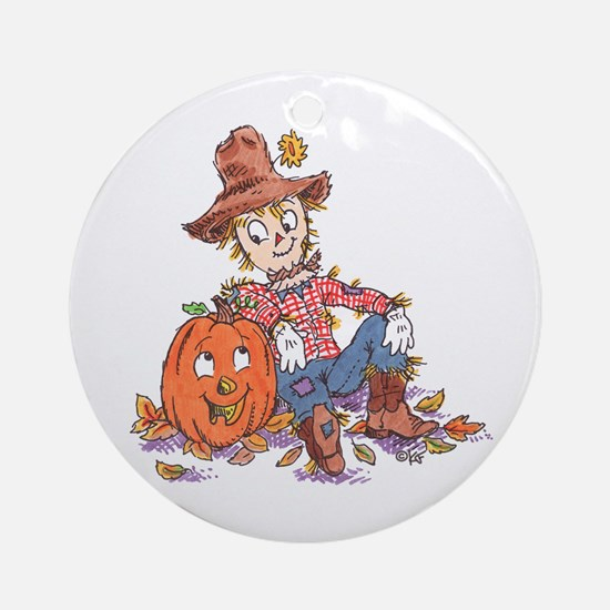 scarecrow and pumpkin Keepsake (Round)