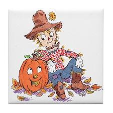 scarecrow and pumpkin Tile Coaster