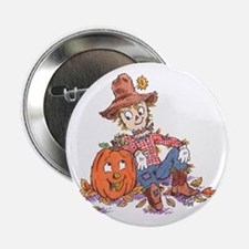 scarecrow and pumpkin Button