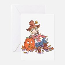 scarecrow and pumpkin Greeting Cards (Pk of 10