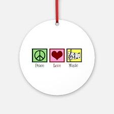 Peace Love Music Ornament (Round)