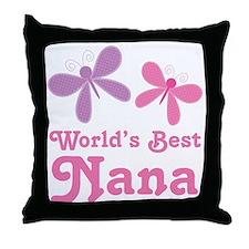 Nana (Worlds Best) Butterflies Throw Pillow
