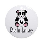 Panda January Due Date Ornament (Round)