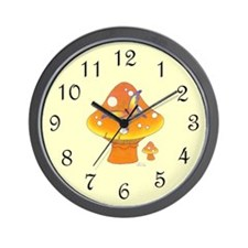 Mushrooms and Butterfly Wall Clock