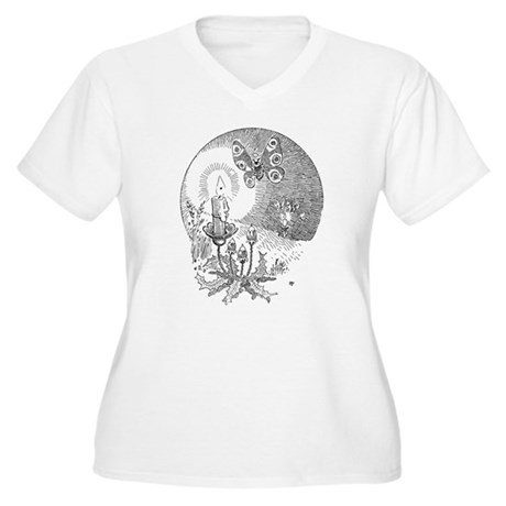 Moth with candle Women's Plus Size V-Neck T-Shirt
