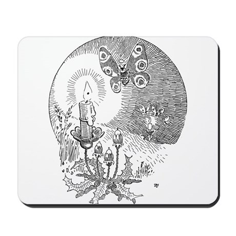 Moth with candle Mousepad