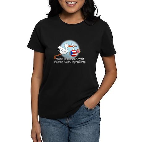 Stork Baby Puerto Rico USA Women's Dark T-Shirt