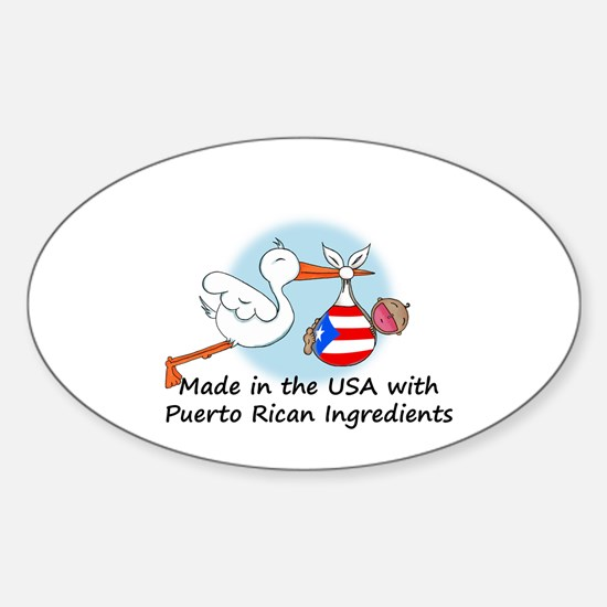 Stork Baby Puerto Rico USA Sticker (Oval)