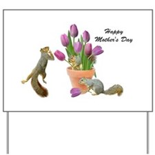 Squirrels with Pink Tulips Yard Sign