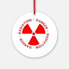 Red Radiation Warning Ornament (Round)