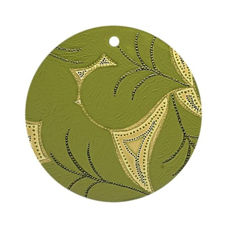 Dark Green Lilly Heart Pads Ornament (Round)