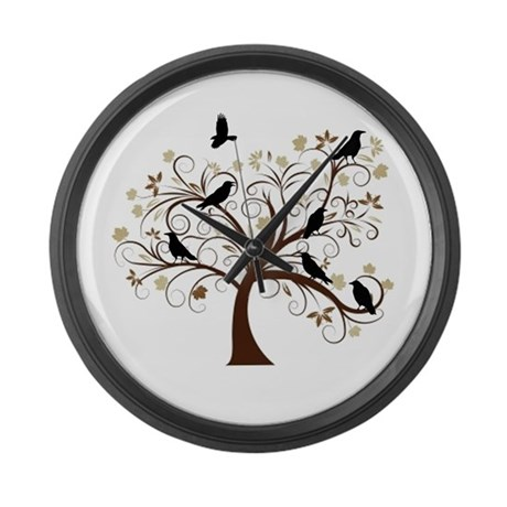 The Raven's Tree Large Wall Clock