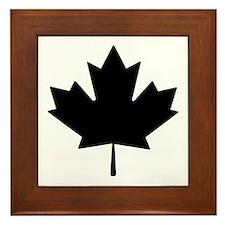 Black Maple Leaf Framed Tile