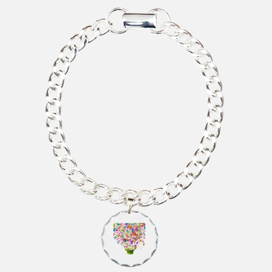 Butterflies and Flowers Charm Bracelet, One Charm