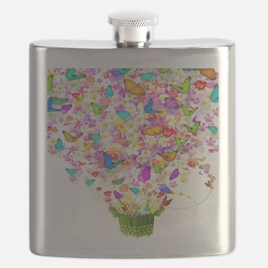 Butterflies and Flowers Forming Tree Flask