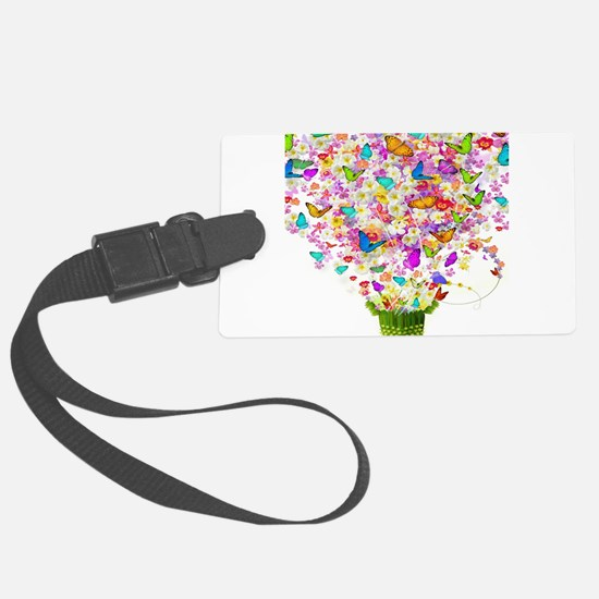 Butterflies and Flowers Forming Large Luggage Tag