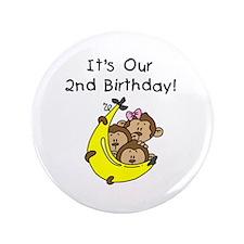 "Triplets 2nd Birthday 3.5"" Button"