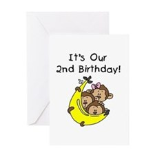 Triplets 2nd Birthday Greeting Card