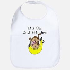 Twin Boy and Girl 2nd Birthday Bib