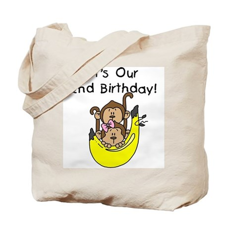 Twin Boy and Girl 2nd Birthday Tote Bag