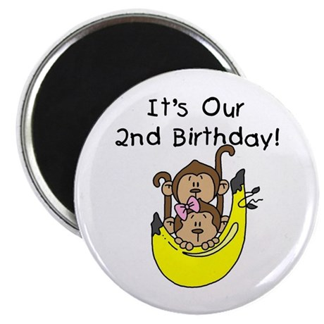 """Twin Boy and Girl 2nd Birthday 2.25"""" Magnet (10 pa"""