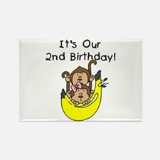 Twin Boy and Girl 2nd Birthday Rectangle Magnet