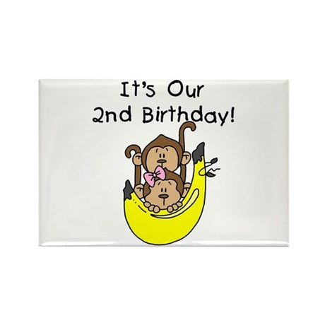 Twin Boy and Girl 2nd Birthday Rectangle Magnet (1