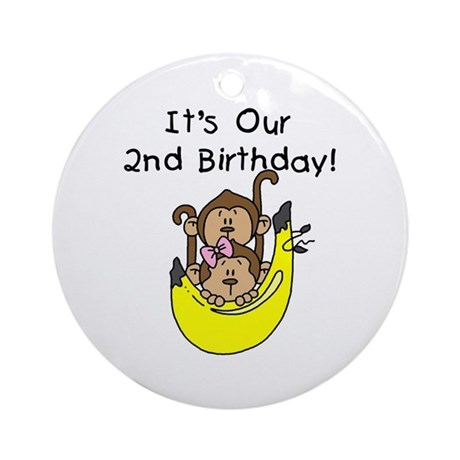 Twin Boy and Girl 2nd Birthday Ornament (Round)