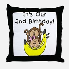 Twin Boy and Girl 2nd Birthday Throw Pillow