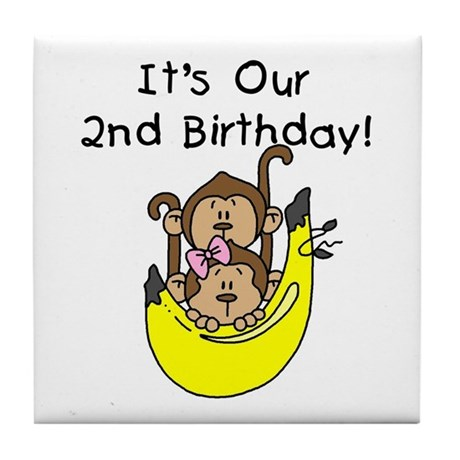 Twin Boy and Girl 2nd Birthday Tile Coaster