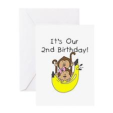 Twin Boy and Girl 2nd Birthday Greeting Card