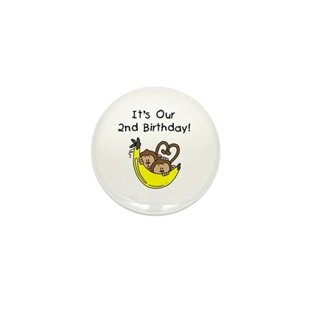 Twin Boys 2nd Birthday Mini Button