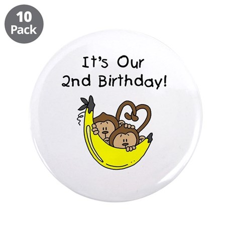 """Twin Boys 2nd Birthday 3.5"""" Button (10 pack)"""