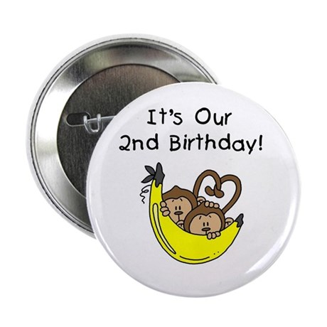 """Twin Boys 2nd Birthday 2.25"""" Button (100 pack)"""