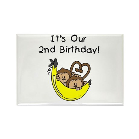 Twin Boys 2nd Birthday Rectangle Magnet (100 pack)