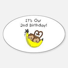 Twin Boys 2nd Birthday Sticker (Oval)