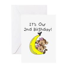 Twin Girls 2nd Birthday Greeting Card