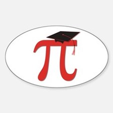 Red Pi Grad Sticker (Oval)