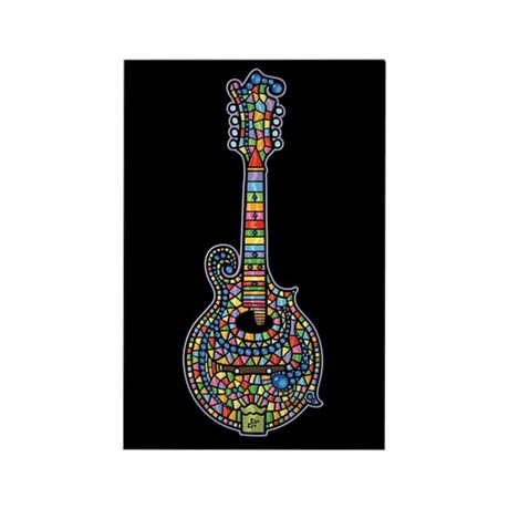 Mosaic Mandolin Rectangle Magnet
