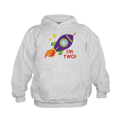 2nd Birthday Space Rocket Kids Hoodie