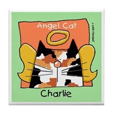 CHARLIE Calico Cat Memorial Tile Coaster