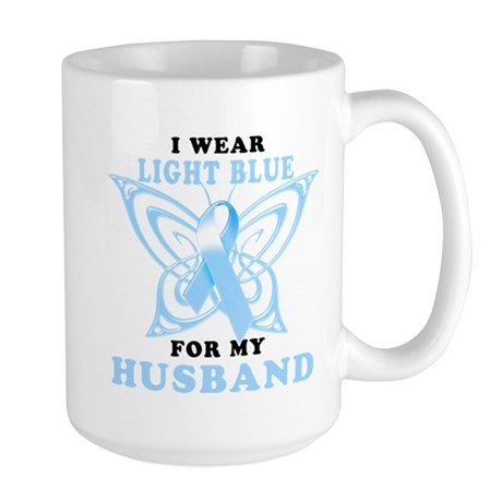 I Wear Light Blue for my Husband Large Mug