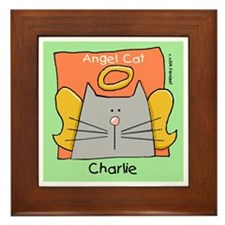 CHARLIE Gray Cat Memorial Framed Tile