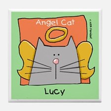LUCY Gray Cat Memorial Tile Coaster