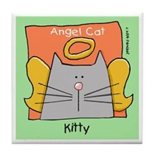 KITTY Gray Cat Memorial Tile Coaster
